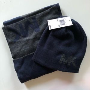 NWT Michael Kors Navy And Gray Hat and Scarf